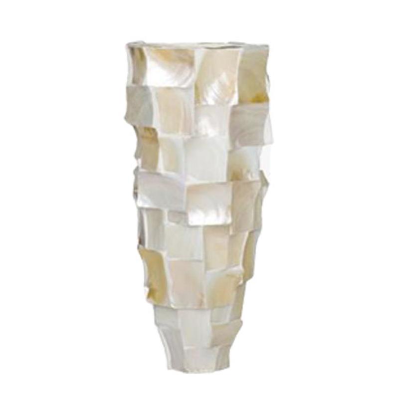 Conical Broken Shell Planter - White
