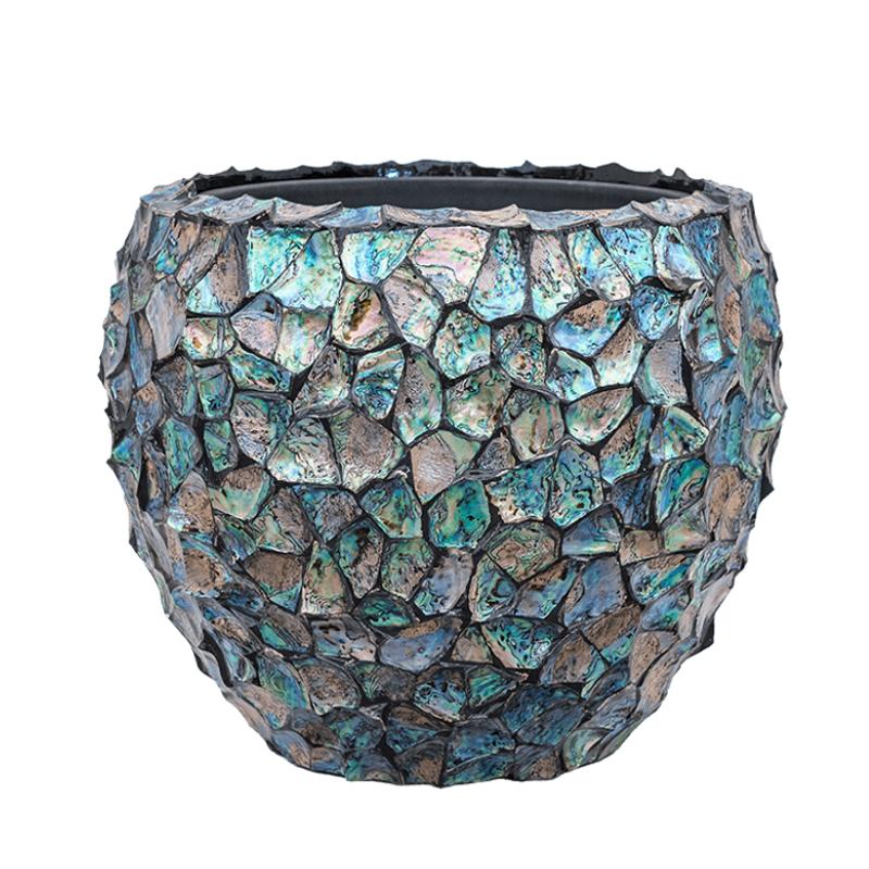 Fishbowl Broken Shell Planter - Blue