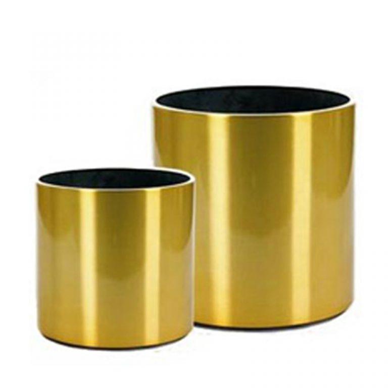 Round Metal Planter - Gold Finish